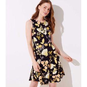 Loft 8 Golden Floral Flare Dress